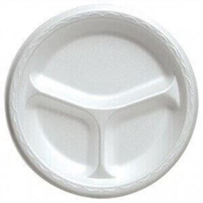 "Picture of 9"" Styrofoam Compartment Plates"