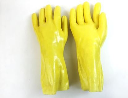 "Picture of 14"" Yellow Single Dipped PVC Gloves - Interlock Smooth Finish"