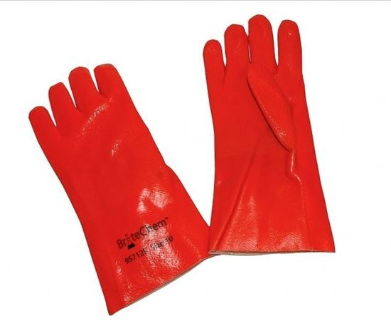 "Picture of Fluoresce Orange Double Dipped PVC Glove - 12"" Gauntlet, Jersey lined"