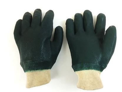 Picture of Green Double Dipped PVC Gloves - Knit Wrist Sandy Finish