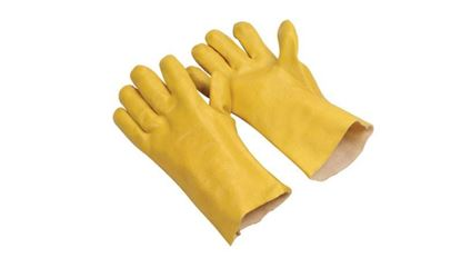 """Picture of 12"""" Yellow Single Dipped PVC Gloves - Jersey Lined Rough Finish"""
