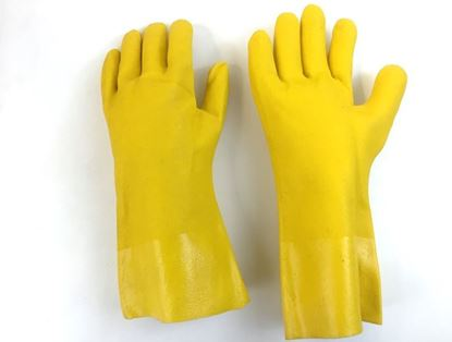 """Picture of 14"""" Yellow Single Dipped PVC Gloves - Jersey Lined Rough Finish"""