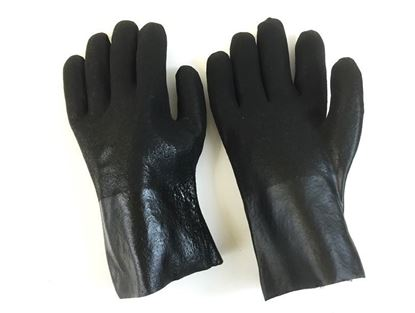 "Picture of 10"" Black Double Dipped PVC Rough Finish Gloves - Jersey Lined"