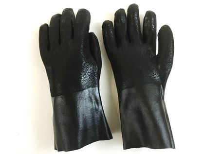 "Picture of 12"" Black Double Dipped PVC Rough Finish Gloves - Jersey Lined"