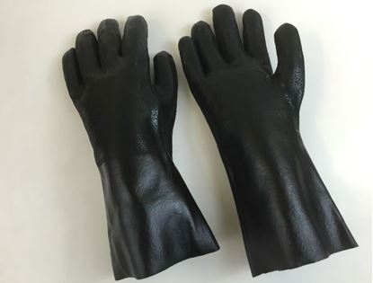 "Picture of 14"" Black Double Dipped PVC Rough Finish Gloves - Jersey Lined"
