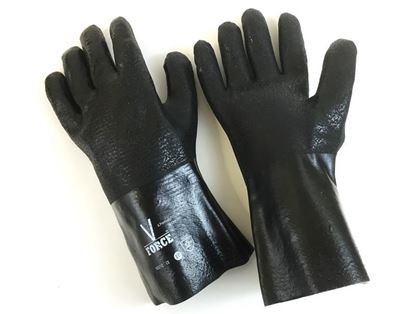 "Picture of 12"" Black Double Dipped PVC Rough Finish Gloves - V Force by Grip Fit"