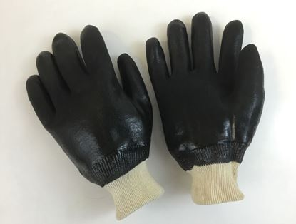 Picture of Black Double Dipped PVC Gloves - Sandy Finish Interlock Lined