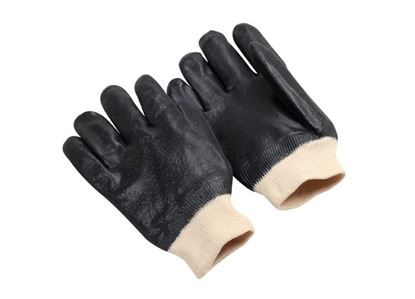 Picture of Black Double Dipped PVC Gloves - Sandy Finish Jersey Lined