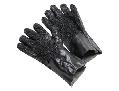 """Picture of 12"""" Black Rough Granulated PVC Gloves - Interlock Lined"""
