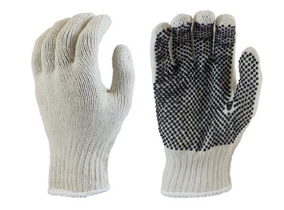 Picture of Natural Color Coated String Knit Gloves - Black PVC Dots 1 Side