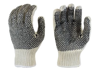 Picture of Natural Color Coated String Knit Gloves - Black PVC Dots 2 Sides