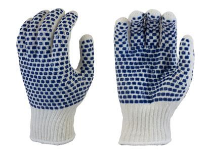 Picture of Natural Color Coating String Knit Gloves - Blue PVC Dots 2 Sides
