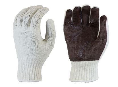 Picture of Natural Color Coating String Knit Gloves - Brown PVC Dots Palm