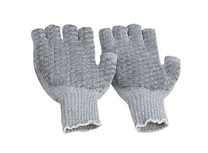 Picture of Grey String Knit Fingerless Gloves - PVC Honeycomb