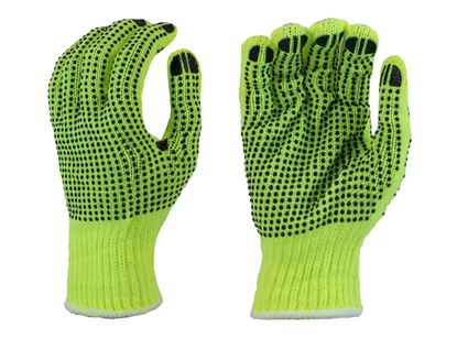 Picture of Yellow String Knit Gloves - Black PVC Dots 2 Sides