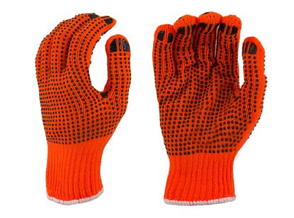 Picture of Orange String Knit Gloves - Black PVC Dots 2 Sides