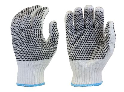 Picture of Bleached White String Knit Gloves - Black PVC Dots 2 Sides