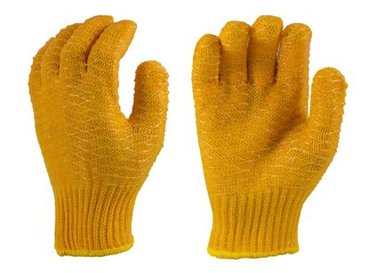 Picture of Orange Nylon String Knit Gloves - Criss Cross PVC 2 Sides