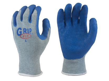 Picture of Grip Fit Blue Latex Coated Palm Gloves - Grey Cotton/Poly Knit Liner