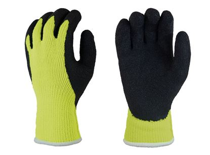 Picture of Black Rubber Coated Palm Gloves - Lime Green Thermal Liner