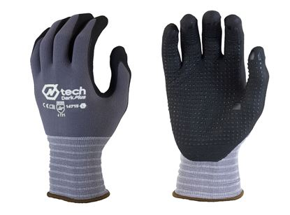 Picture of Black Foam Nitrile Coated Palm Gloves with Dots - Grey Nylon Liner