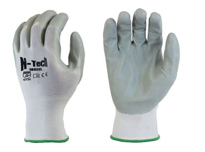 Picture of Grey Nitrile Coated Palm Gloves - White Nylon Liner