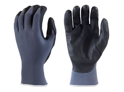 Picture of Black Sandy Foam Nitrile Coated Palm Gloves - Blue Nylon Liner