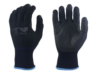 Picture of Black PU Coated Palm Gloves - Black Nylon Liner