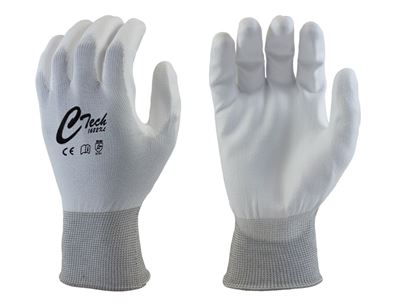 Picture of Ctech White PU Coated Palm Gloves - White Nylon Liner