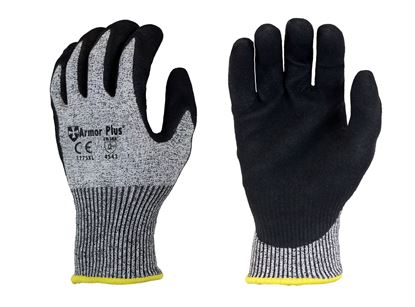 Picture of Armor Plus® Black Micro Foam Nitrile Coated Palm Gloves - HPPE Fiber Liner