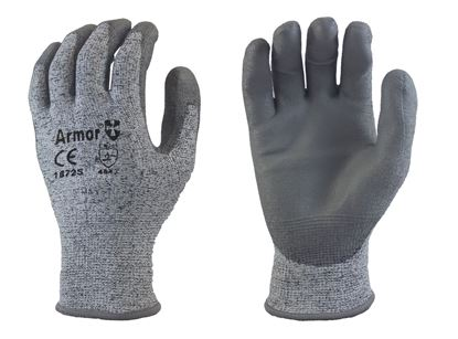Picture of Armor® Grey PU Coated Palm Gloves - HPPE Fiber Liner