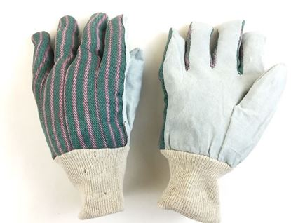 Picture of Leather Palm Gloves with Knit Wrist - Lined Green/Pink Stripes