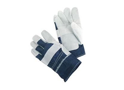 Picture of Leather Patch Palm Gloves - 2 1/2 Inch Blue Denim Fabric Back