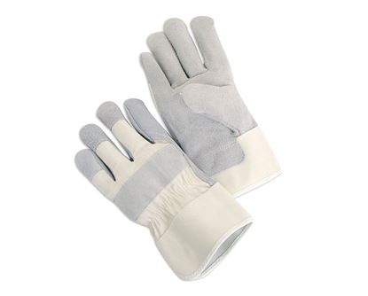 Picture of Leather Palm Gloves - White Canvas Back and Cuff 4 1/2 Inch