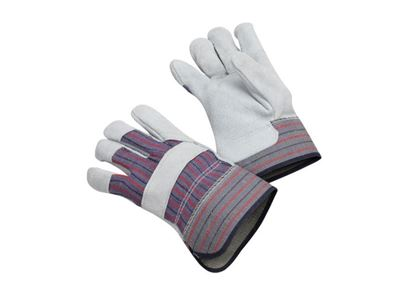 Picture of Leather Palm Gloves - Blue Fabric with Red and Black Stripes