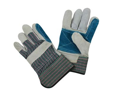 Picture of Double Leather Palm Gloves - Green Fabric with Pink Stripes
