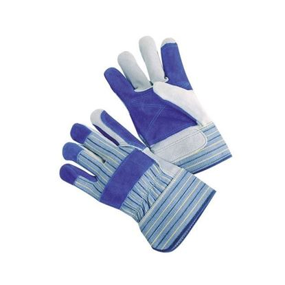 Picture of Blue Double Palm Gloves - Yellow and Black Stripes