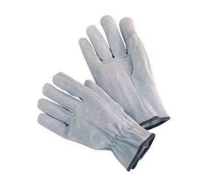 Picture of Grey Cow Split Leather Gloves - Straight Thumb Shirred Elastic Back
