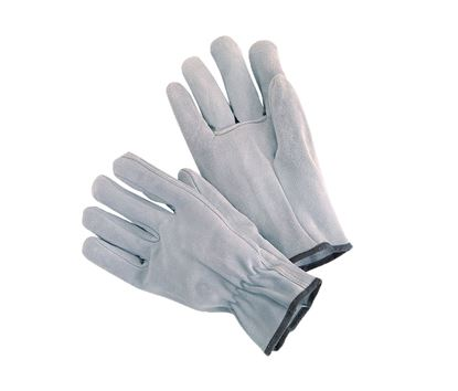 Picture of Grey Cow Split Leather Gloves - Keystone Thumb Shirred Elastic Back