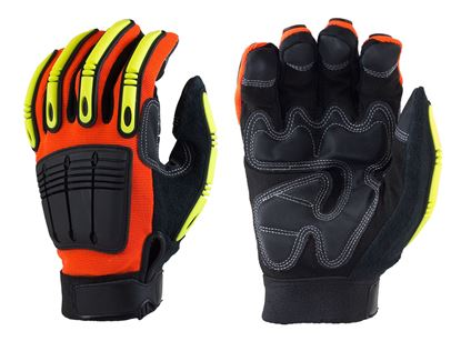 Picture of Synthetic Leather Palm Glove with Hi-Ves Orange Nylon Spandex Back.