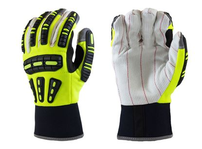 Picture of Cotton Palm Impact Mechanics Gloves - Neon Green