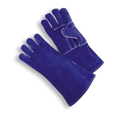 Picture of Blue Side Leather Reinforced Palm Gloves - Wing Thumb