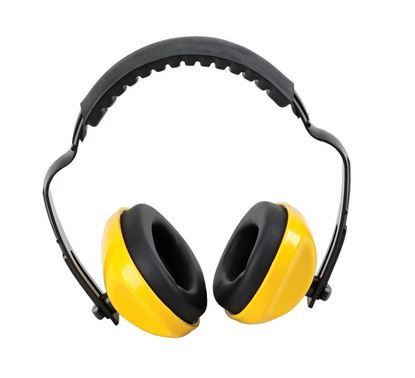 Picture of Ear Muffs with Yellow Ear Cups, Padded Headband, NRR 23db