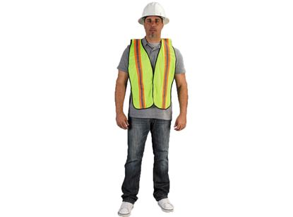 Picture of Lime Green Polyester Vests - Orange and Silver Stripes