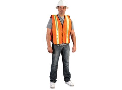 Picture of Orange Knit Polyester Vests - Yellow and Silver Stripes