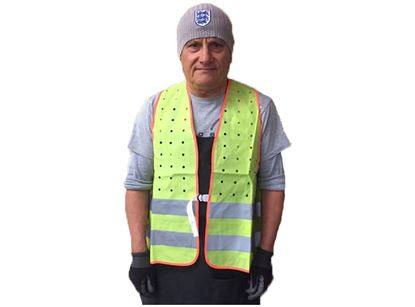 Picture of Heavy Duty Fitted Lime Safety Vest - 2 Horizontal Stripes