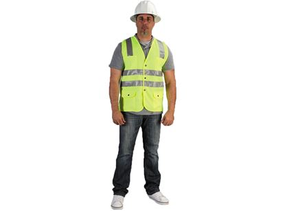 Picture of Class 2 Lime Green Safety Vest - Two Individual Chest Pockets