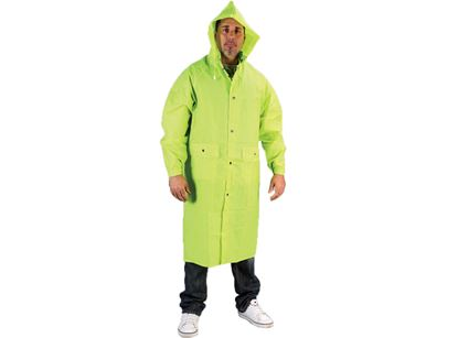 Picture of Lime Green PVC on Polyester Rain Coat - Detachable Hood