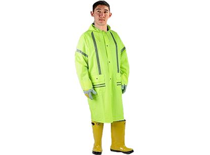 Picture of Lime Green PVC on Polyester Rain Coat - Silver Reflective Stripes S - 2X