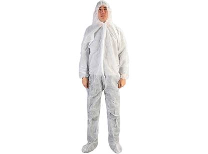 Picture of White Polypropylene Coveralls with Booties